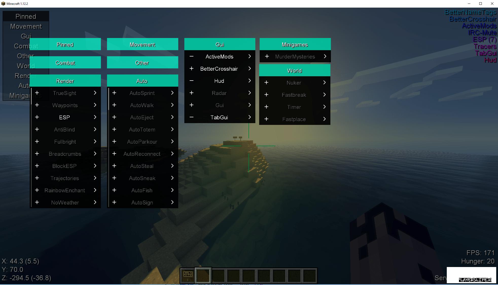 Чит Aristois для Minecraft 1 13 2, 1 12 2